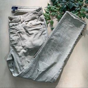 Kiabi Skinny Fit Cream Raw Hem Jeans Button Fly